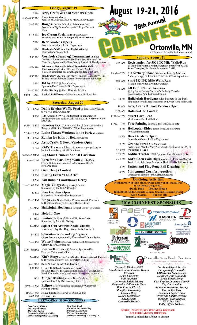 2016 Cornfest Schedule